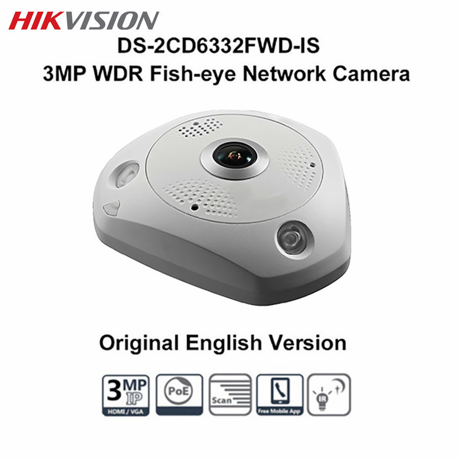 где купить HIKVISION 3MP PTZ POE Camera DS-2CD6332FWD-IS CCTV WDR 360 Degree View IR SD Card Night version Dome Fisheye IP Camera по лучшей цене