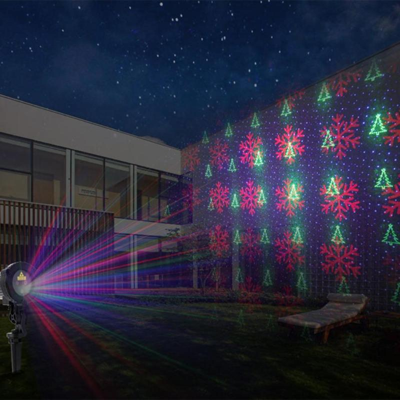 Waterproof Colorful Three-hole Light Snowflake Christmas Pattern Laser Projector Stage Lawn Night Lamp Outdoor Garden US Plug