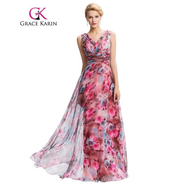 Grace Karin Floral Print Long Evening Dress 2016 Double V Neck Pattern  Elegant Prom Gowns Chiffon 6219218056fd