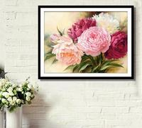 DIY 5D Full Diamonds Embroidery Peony Flowers Round Diamond Painting Cross Stitch Kits Diamond Mosaic Home