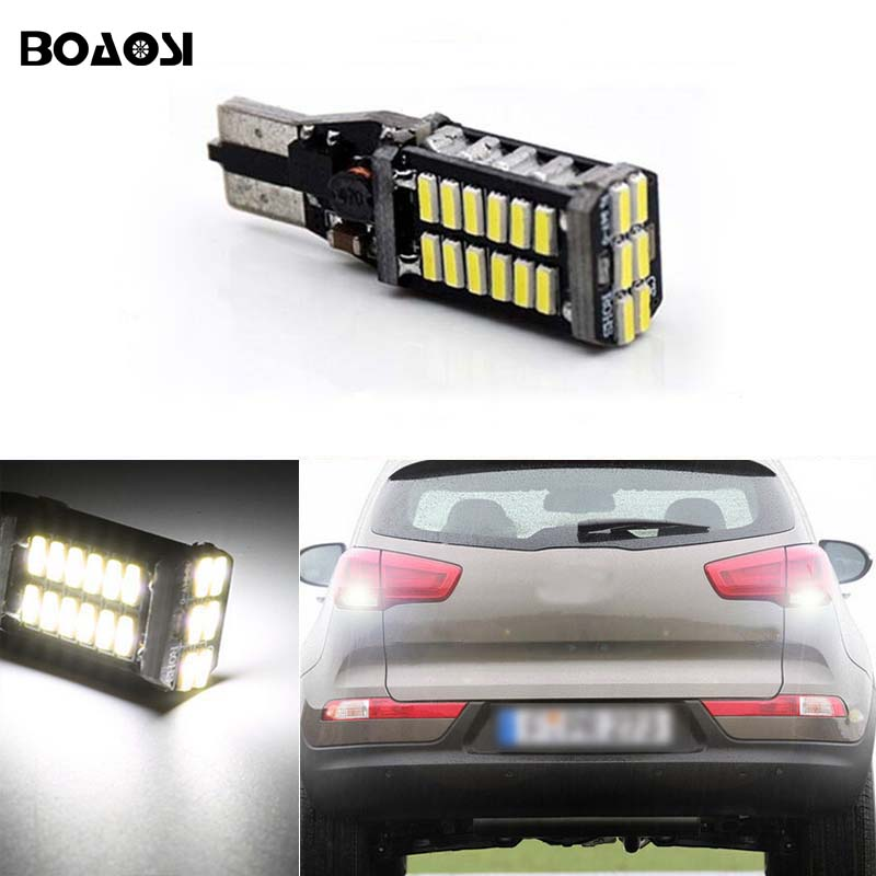 BOAOSI 1x T15 W16W Canbus 6000k Xenon White 30SMD LED Backup Reverse Light For kia rio sportage k2 k3 k4 k5 cerato sorento soul
