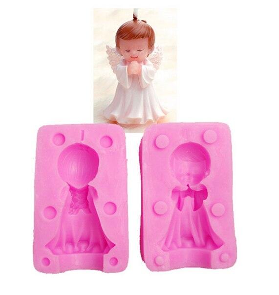 소년 천사 양면 실리콘 금형 3D 비누 금형 촛불 금형 2 개 / 대