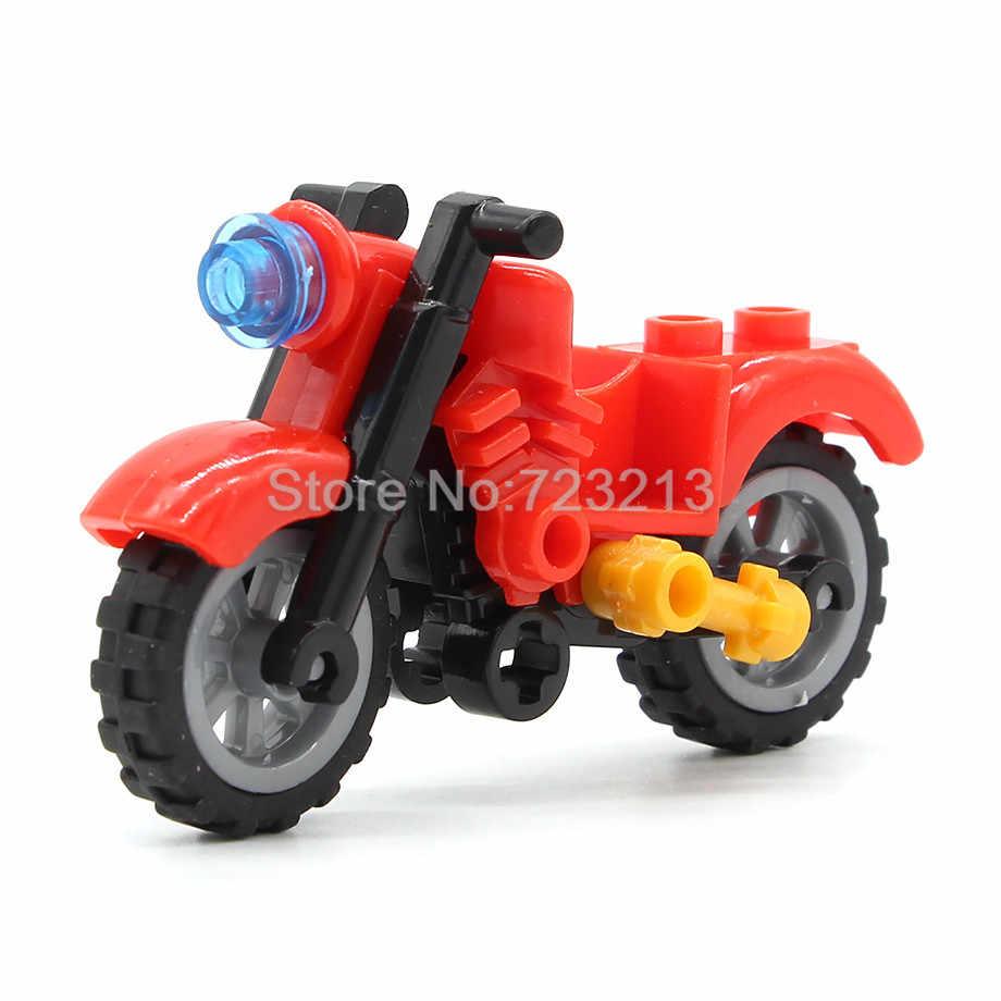 シングルハーレーモトブロック車オートバイアクセサリーmoc部品軍事swat都市のビルディングブロック子供のための