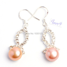 Free Shipping 9mm Pretty Light Purple Color Natural Freshwater Pearl  Fashion Rhinestone Earrings Silver Hook Jewelry 017c0f847a8e