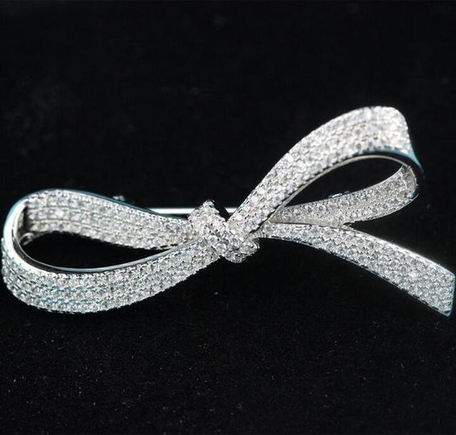 Fashion Bowknot Brooches Pin Jewelry For Girls Gem Zirconia Accessories 2016 Hot Best Selling Freeshipping