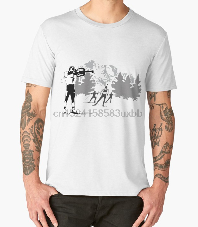 Printed Men T Shirt Cotton O-Neck Tshirts Biathlon Short-Sleeve Women T-Shirt