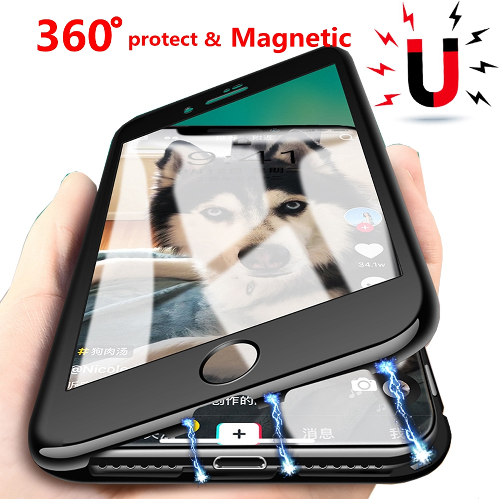 Galleria fotografica 360 Full Protection Case For iPhone XS Max XS XR X With Glass Film Magnetic Adsorption Glass Case For iPhone 7 8 6 6S Plus Coque