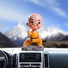 Автомобиль кукла украшения качающаяся голова игрушка креативная Смола Маленький монах шаолин кунг-фу очки Детский автомобиль интерьерные украшения аксессуары