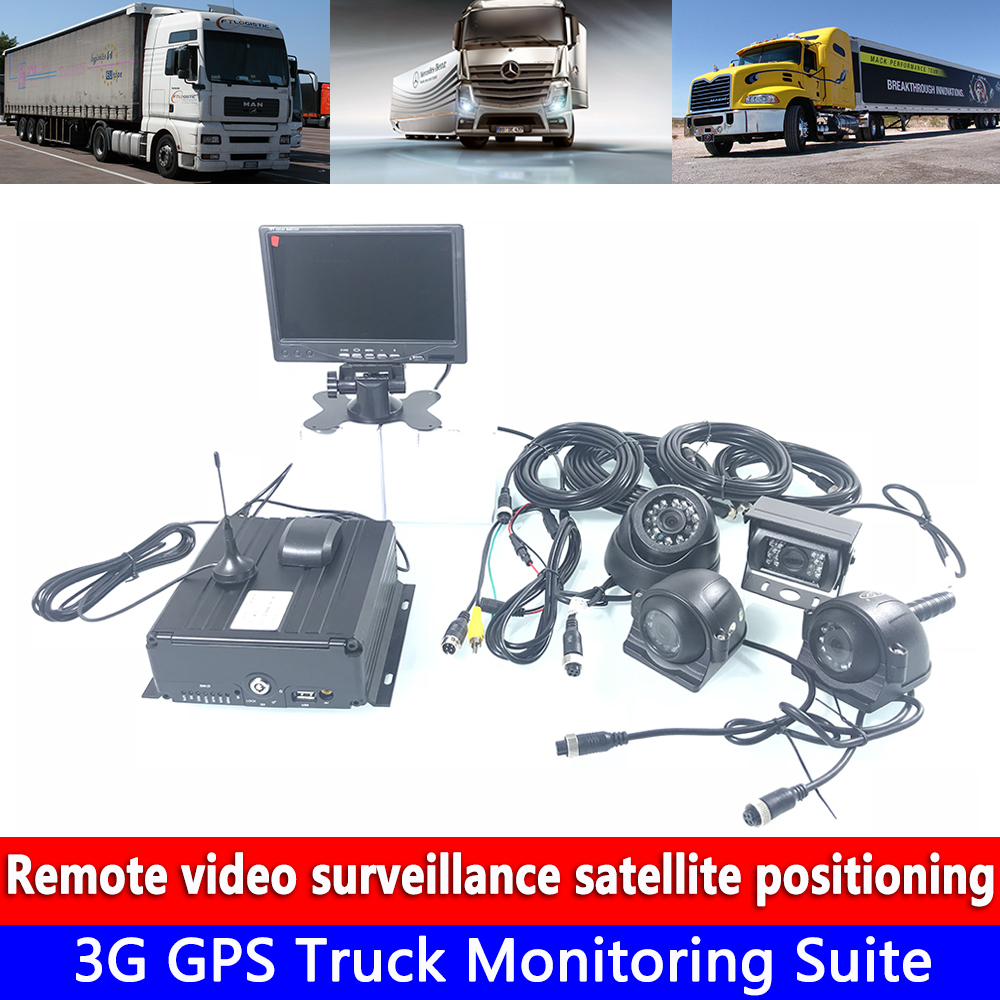 AHD 720P 4 channel remote video Monitoring 3G GPS Truck Monitoring Suite wire/camera/monitor vehicle driving record Monitoring