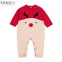 Newborn Baby Boys Girl Christmas Rompers Cute Knitting Long Sleeve Deer Romper Jumpsuit Party Costume Baby
