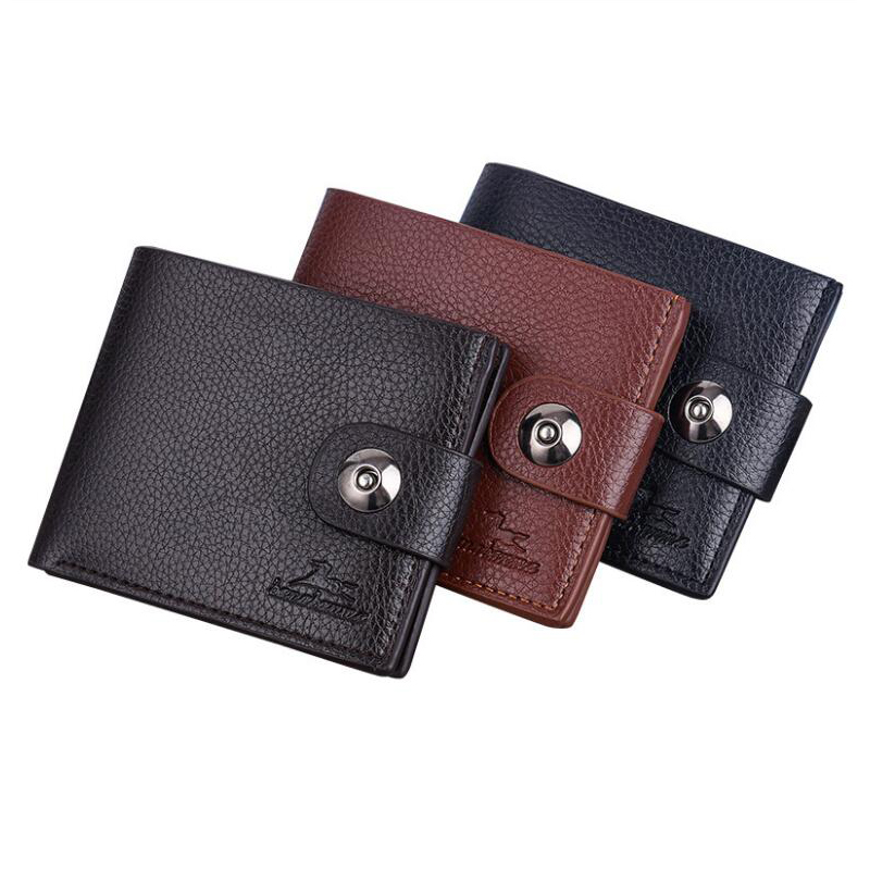 Fashion Men's Wallet Magnetic Buckle Wallet Korean Version Of The Purse Soft Surface Lychee Wallet Brand Wallet Quality Assuranc