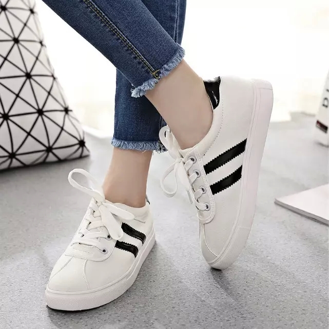 NEW Fashion striped women sneakers white patch red/black