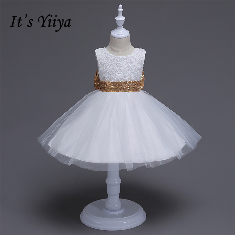 It's YiiYa Real Picture 3 Colors Sleeveless O-Neck Bow with Sequined Embroidry Lace Kids Princess   Flower     Girls     Dress   Party TS060