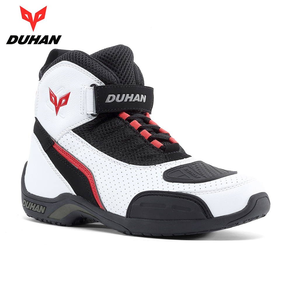 DUHAN Motorcycle Boots Men Summer Mesh Motorcycle Shoes Motocross Riding Off-Road Racing Boots Moto Boots Botas Moto Black White arcx motorcycle boots off road racing shoes men leather moto boots motocross boots street moto touring riding motorcycle shoes
