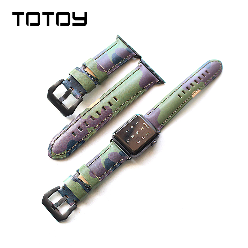 TOTOY Retro Men's Camo Bracelet For Apple Watch Leather Strap, 42MM 38MM Handmade Watchbands, For Iwatch 4 Camo Watchband 44MM