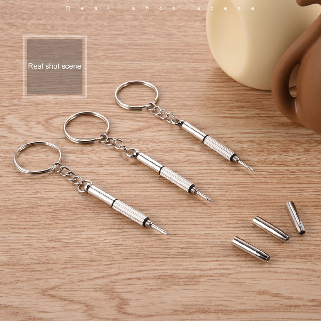 100pcs 3 in 1 Eyeglass Screwdriver Glasses Watch Repair Tool Kit with Keychain Ring