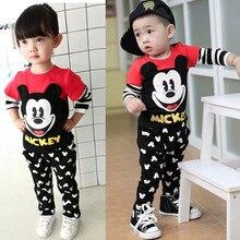 2016 Spring Cute Mouse Toddler Boys Girls Clothing Set Cartoon Kids Print Shirt+Pants Outfits 2PCS Kids Baby Brand Clothes Set