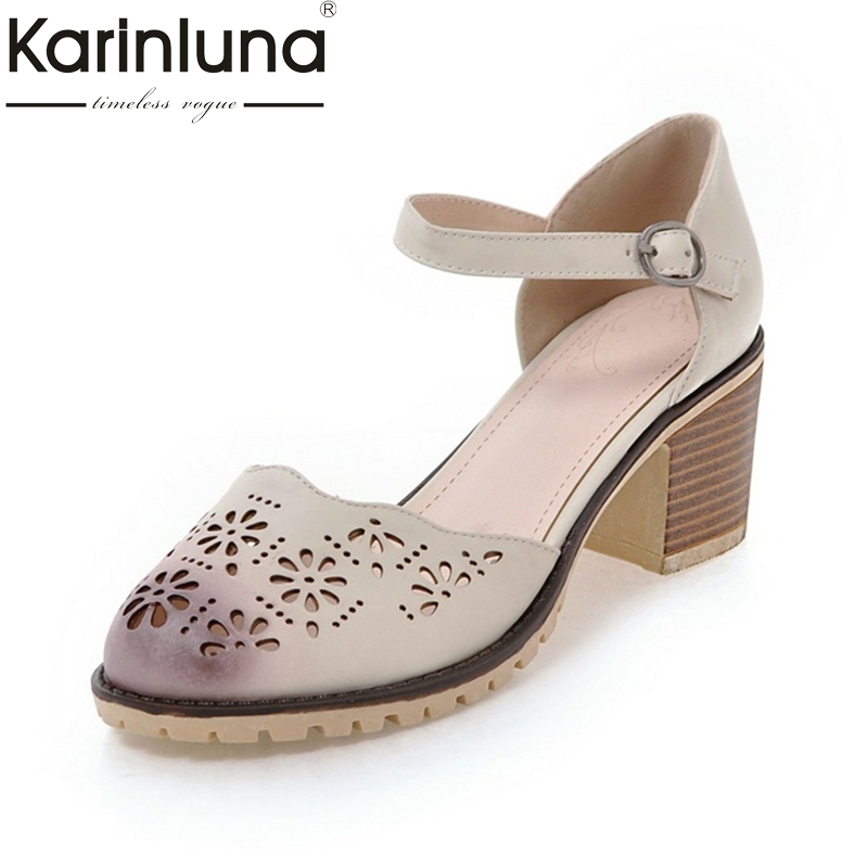 Karinluna 2018 Fashion Square High Heels Platform Round Toe Women Shoes Buckle Strap Shoes Lady Pumps Size 34-39 vallkin size 34 43 white buckle strap round toe women pump square high heels solid autumn spring lady party shoes