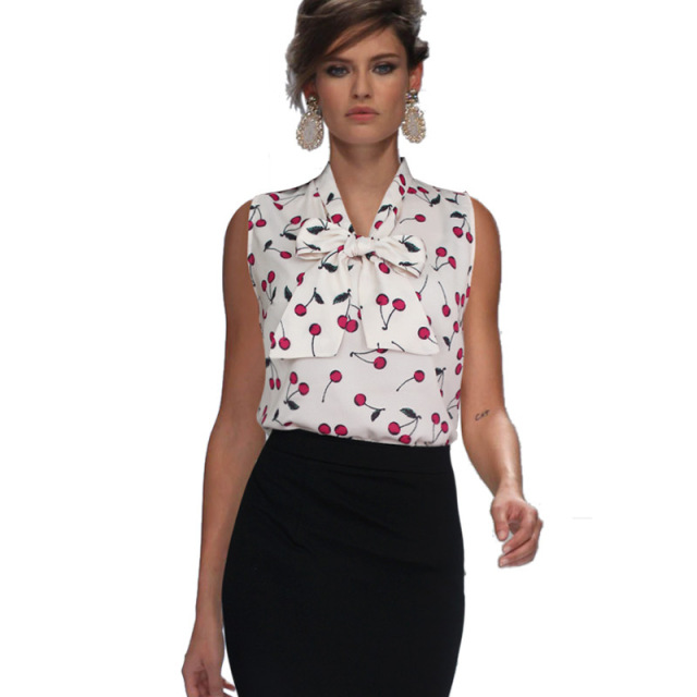 19e84de0700 VfEmage Womens Summer Style Sexy Chiffon Tie-neck Sleeveless Printed Business  Casual Office Party Loose