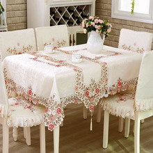 European 1Pcs Satin Silk Table Cloth Beige Lace Embroidery Hollow Out  Flower Tablecloth Wedding Decor Desk