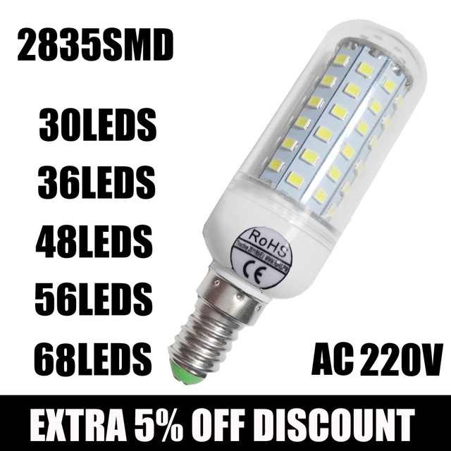 Hot Wholesale Full NEW 2835 SMD LED Corn Bulb 220V LED lamp E27 E14 30/36/ 48/ 56/ 68leds led candle bulb