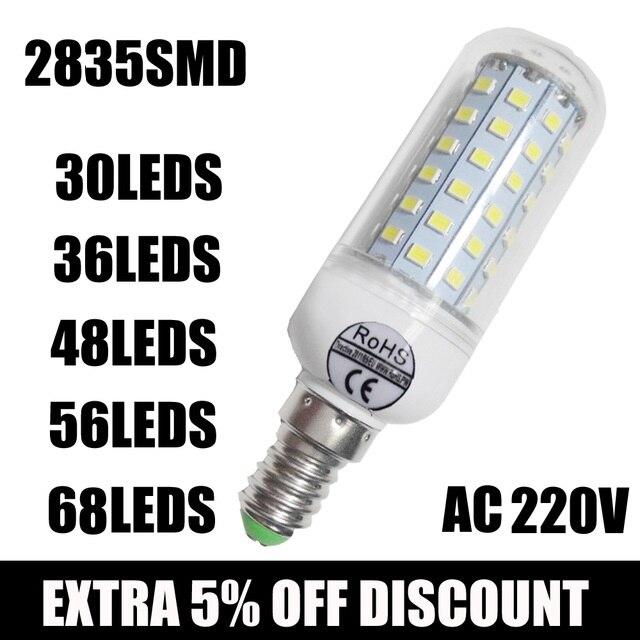 Hot Wholesale Full NEW 2835 SMD LED Corn Bulb 220V LED Lamp E27 E14 30/36/ 48/ 56/ 68leds Led Candle Bulb