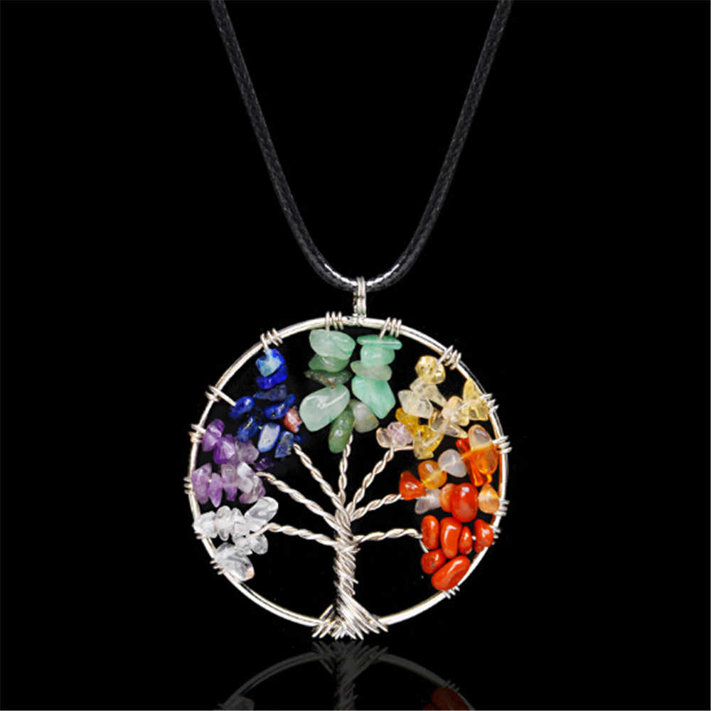 Wholesale 7 Chakra Crystal Pendant Necklace Natural Yoga Tree of Life Healing Quartz Stone Jewelry Women Gift + Leather Chain