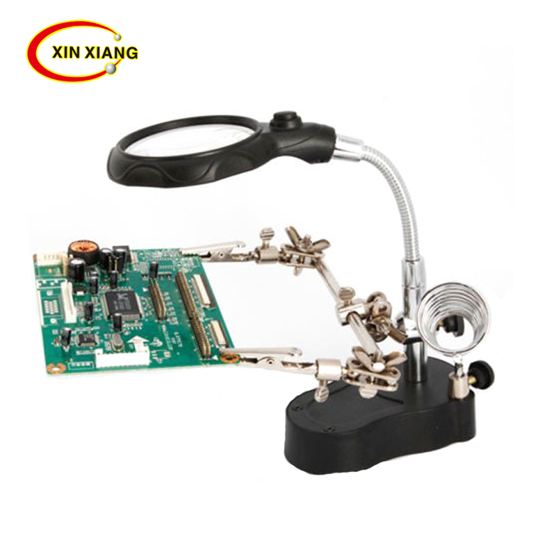 3.5X 12X 3rd Helping Hand Clip Clamp LED Magnifying Glass Soldering Iron Stand Magnifier Welding Rework Repair Holder Tools