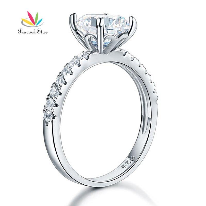 Pfau Stern 925 Sterling Silber Braut Jahrestagsverpflichtung Ring 2 Karat Schmuck CFR8212