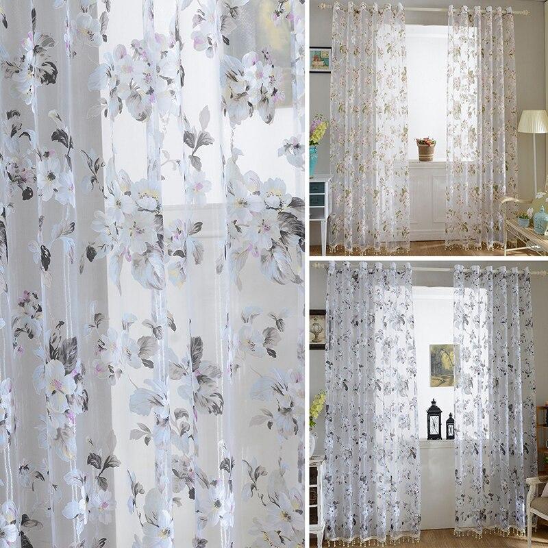 Прозрачный перегородкой Простыня шарфы окна Шторы Цветочный Тюль Панель подзоры вуаль Шторы