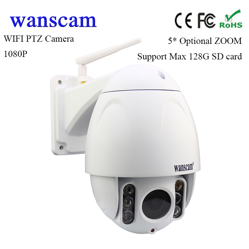Wanscam 5*optical zoom 1080P outdoor PTZ wifi IP camera waterproof wireless security IP dome camera 2MP support 128G TF card wanscam dual audio hd 720p 3x digital zoom wireless wifi p2p ip camera support 128g tf card surveillance camera