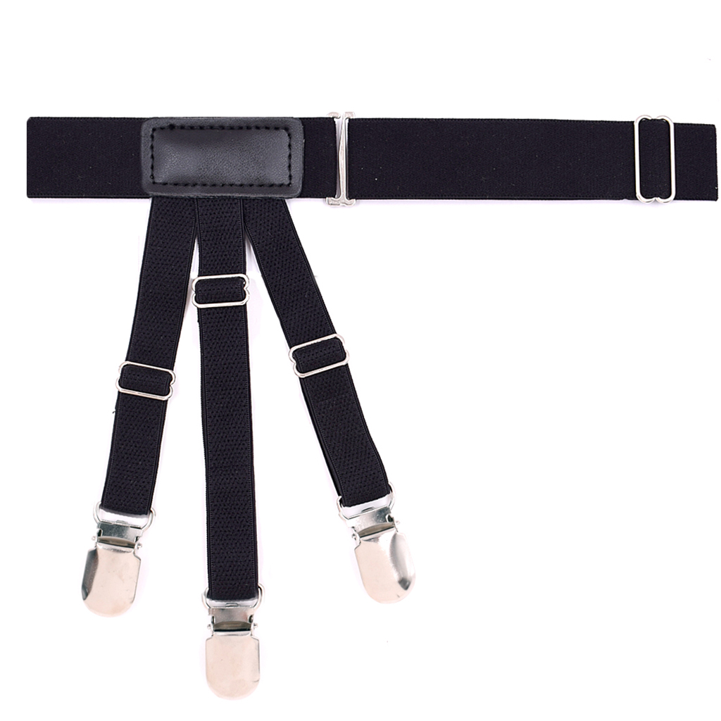 2 Pieces Mens Shirt Stays Belt Black Adjustable Garters Holder Shirt Holder Suspenders For Men Non slip Locking Clips in Men 39 s Suspenders from Apparel Accessories