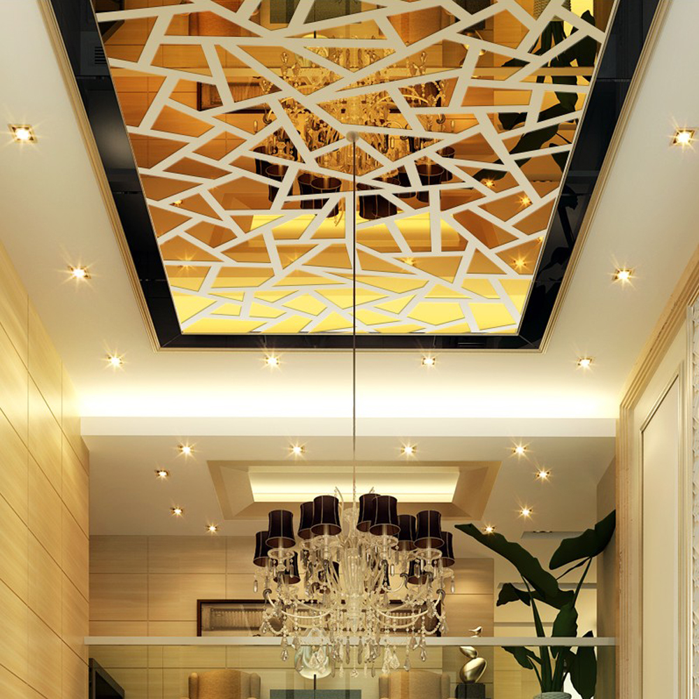 DIY Large Geometry Puzzle Acrylic Crystal Wall Decor Art 3D Mirror ...