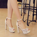 Brand Shoes Woman Sexy Thick High Heels Platform Pumps White Buckle Peep Toe Shoes For Women Ankle Strap Pumps Chaussure Femme