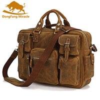 Dongfang чудо Crazy Horse кожи человека сумка Мужские сумки новый Для мужчин Курьерские сумки Повседневное плечо ноутбук Портфели
