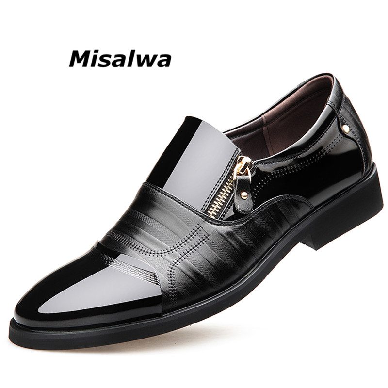 34cd874b2 Misalwa Men Patent Leather Shoes For Men 2018 Spring Zip Pointed Toe Casual  Business Formal Men Shoes Wedding Party Dress Shoes