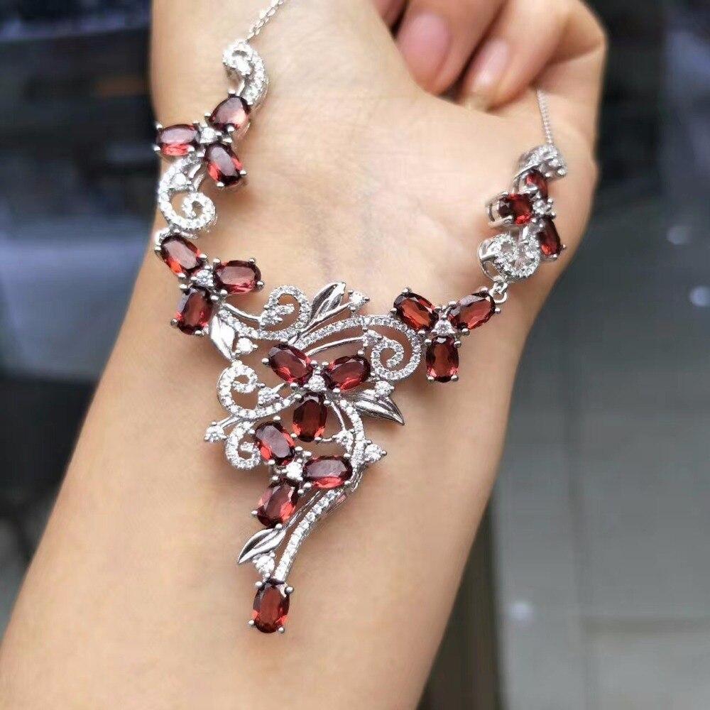 2019 Neuer Stil Uloveido Natürliche Getestet Granat Halskette Für Frauen, 925 Sterling Silber Hochzeit Schmuck, 4*6mm * 16 Samt Box Zertifikat Fn183