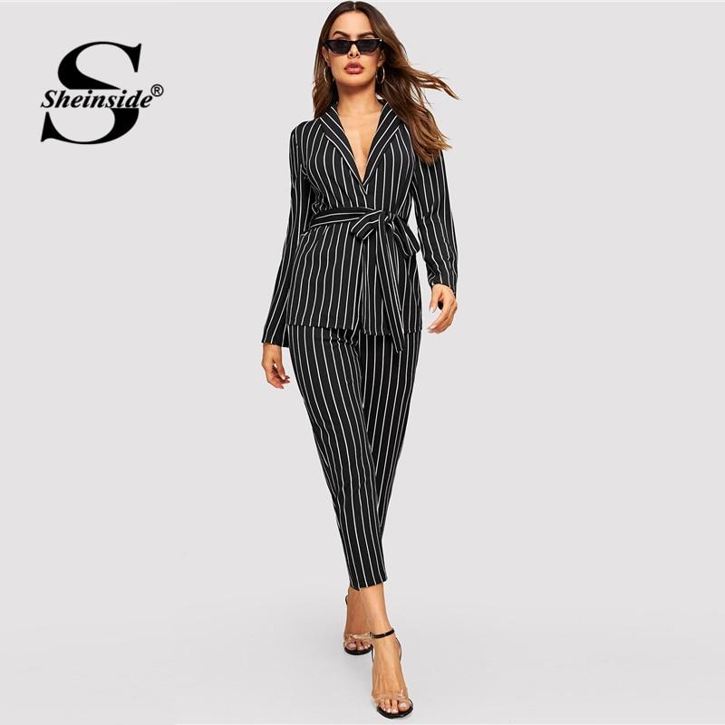 Sheinside Fashion Shawl Collar Belted Blazer And Cigarette Pants Set Women Spring Elegant Workwear Pinstripe Blazer 2 Piece Set
