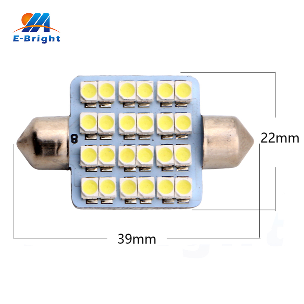 6-200pcs 39mm 12V 1210 1206 24 SMD LED Festoon Lamp Ceiling Dome Bulbs Pate Number Readi ...