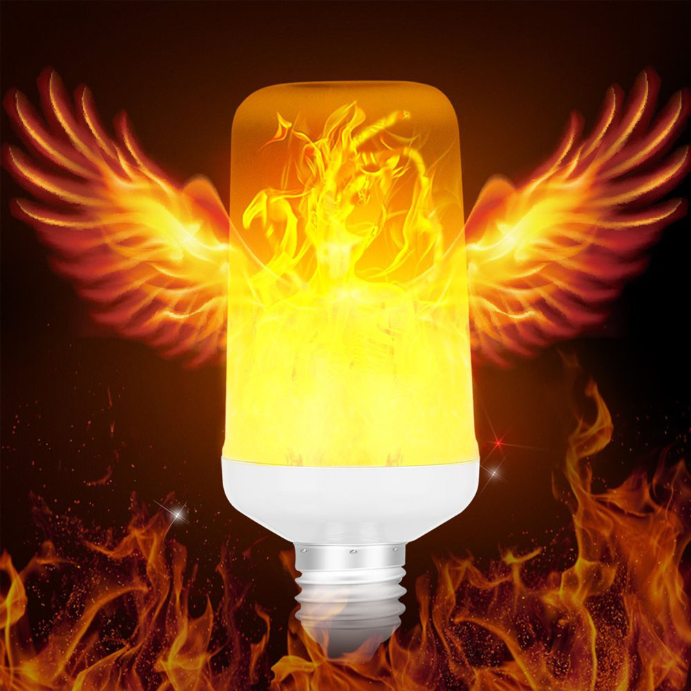 2017 New E27 2835 LED Flame Effect Fire Light Bulbs AC 85-265V Creative Flicker Lamp Home Party Decor LED Night Lights 100 pcs