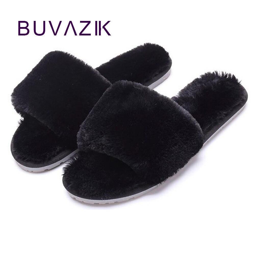 2018 Fashion Autumn women Plush Slippers warm faux fur flip Flops slip on female Shoes