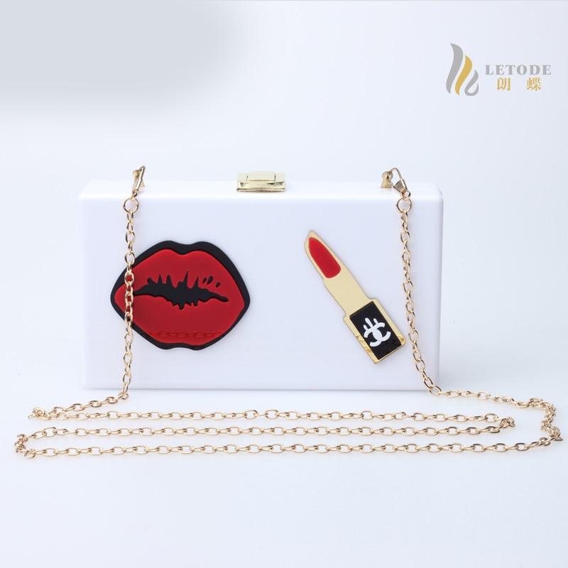Lip gloss women messenger bags bolsos Acrylic brand ladies handbags famous designer luxury clutch bags high