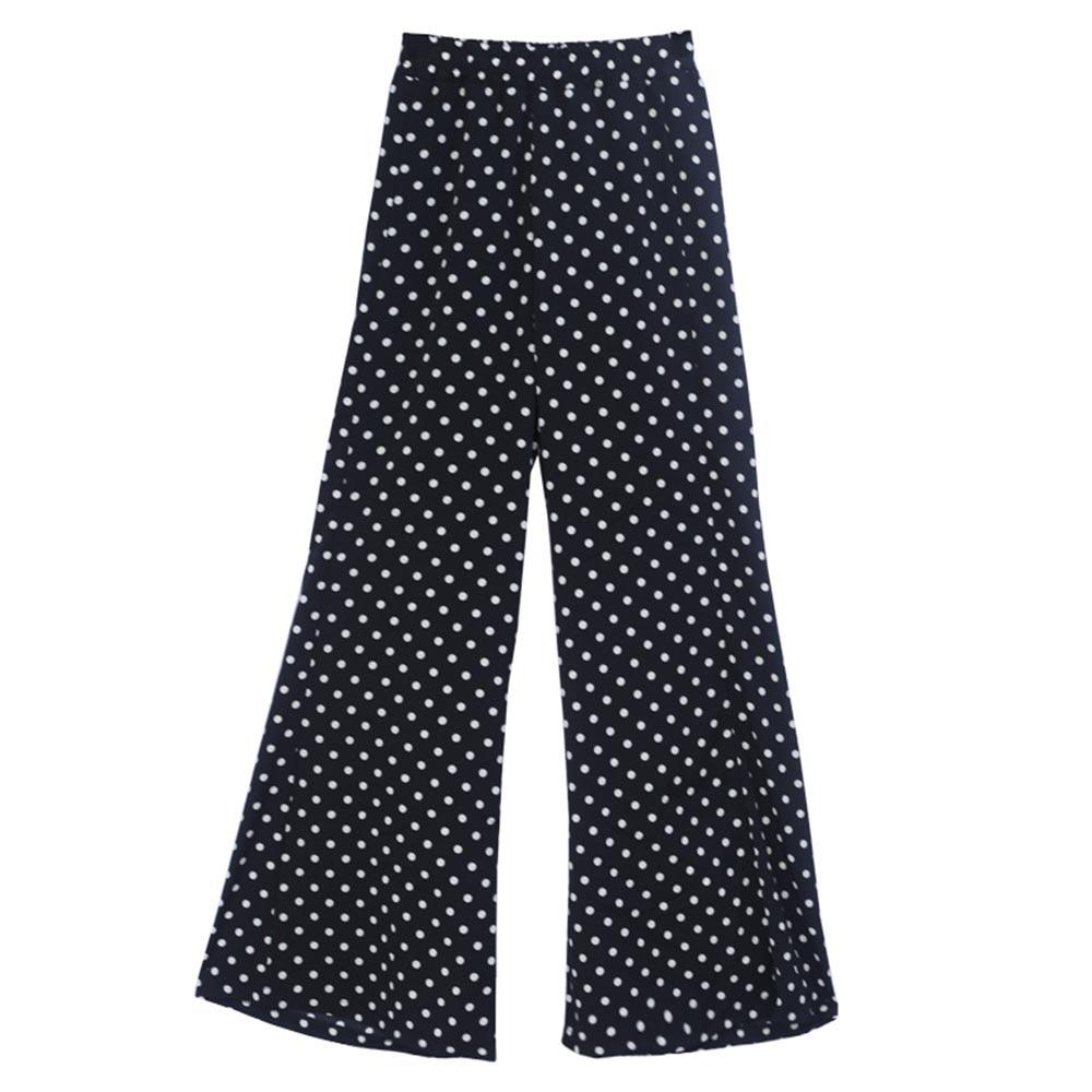 Women Pants High-Waist Wide Legs Polka Dots Loose Thin Print Elastic Full Length Girls Fashion Pants Summer autumn 2018 Korean 5