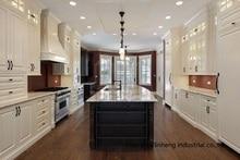 PVC/vinyl kitchen cabinet(LH-PV089) solid wood curved shape kitchen cabinet lh sw089