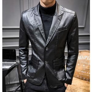 Image 3 - 2020 New Leather Jacket Streetwear Fashion Mens Leather Suit Jacket Clothes Casual Slim Fit Button Yellow Blue PU Blazer Coats