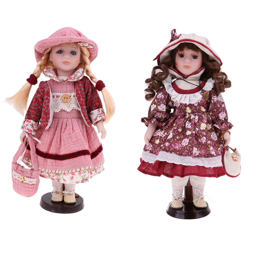 2Pcs 30cm Victorian Porcelain Doll With Dress Set & Wooden Stand Home Display Decoration