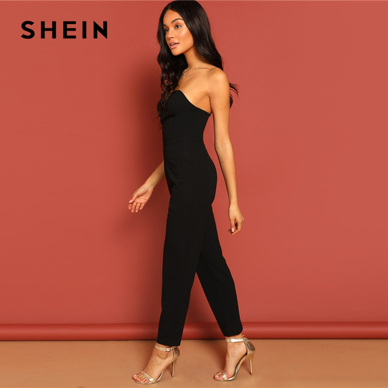SHEIN Black Zip Back Sweetheart Neck Tube Jumpsuit Sexy Plain Strapless Sleeveless Women Summer Maxi Elegant Party Jumpsuits 2