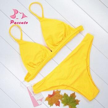 Vendaje Bikini De Trajes Pacento Bañadores Sólido Brasileño Playa Rojo Amarillo Mujeres Baño Traje Sexy Crochet Mujer Plavky PkXiZOuTwl
