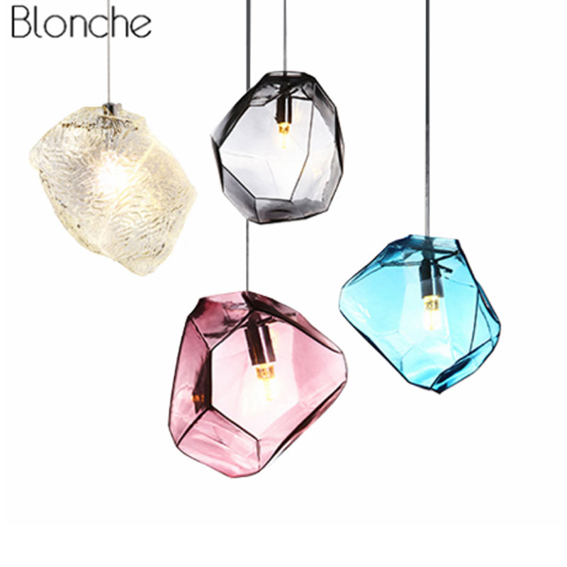 Modern Colorful Pendant Light Glass Stone Shade Pendant Lamp Colorful Crystal Luminaria For Dning Room Kitchen LED Light Fixture ark light free shipping hot selling 1pcs beer bottle glass pendant lamp glass stone colorful pendant light dining room tea room