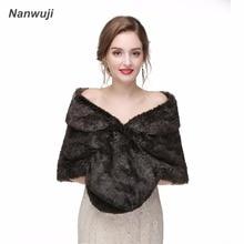 Black Real Fox Fur Bridal Wraps For Winter Wedding 2018 New Cape Bridesmaids Shawl